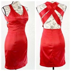 B. Darlin Red Satin Dress Size 1/2 NWT